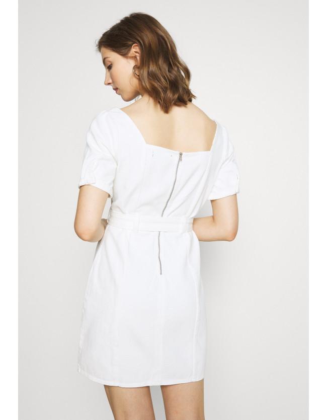 SELF BELTED PUFF SLEEVE MINI DRESS - Denim dress - 3