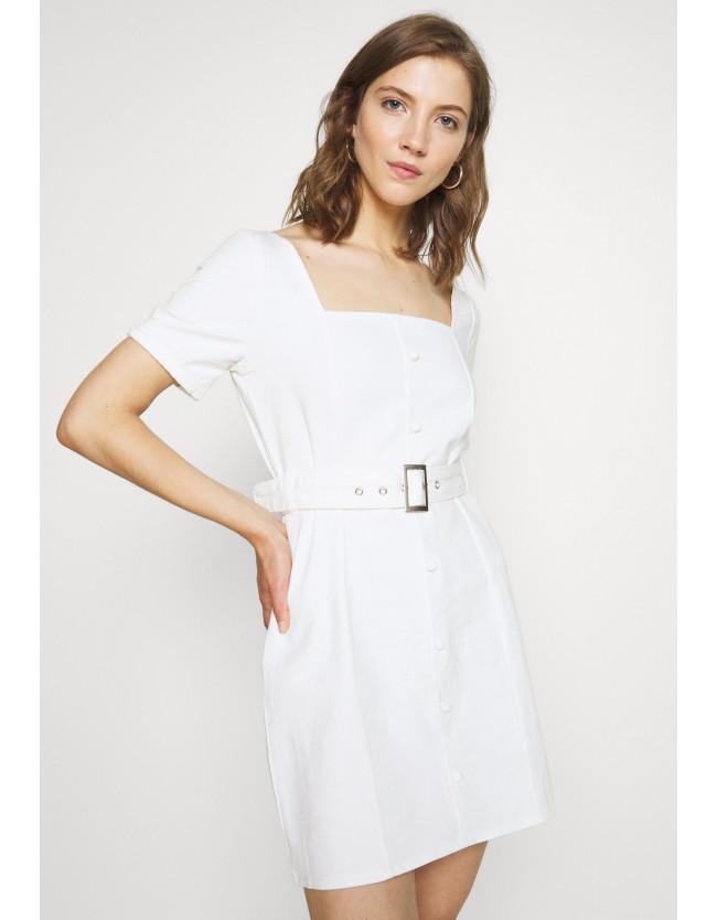 SELF BELTED PUFF SLEEVE MINI DRESS - Denim dress - 5