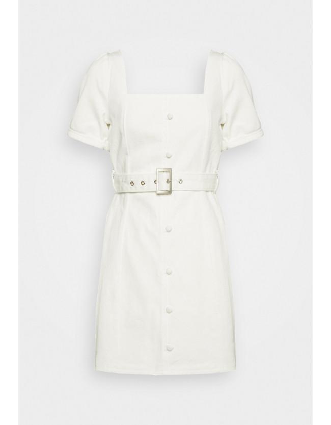 SELF BELTED PUFF SLEEVE MINI DRESS - Denim dress - 2